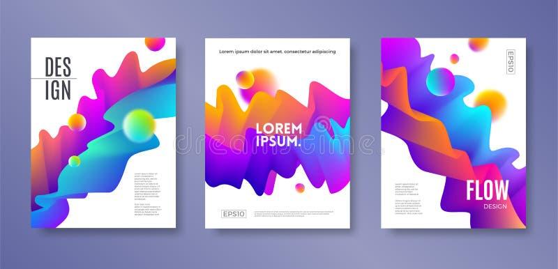 L'insieme di progettazione della copertura con flusso multicolore astratto modella Modello dell'illustrazione di vettore Progetta illustrazione di stock