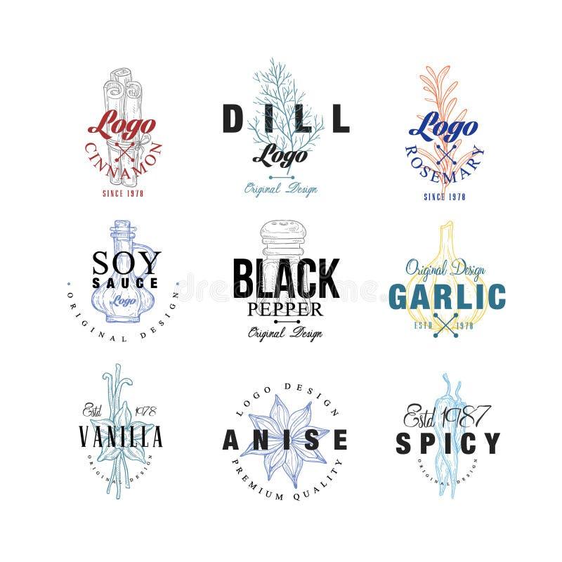 L'insieme di progettazione di logo della spezia, l'aneto, la salsa di soia, il pepe, l'aglio, il rosmarino, la vaniglia, distinti royalty illustrazione gratis