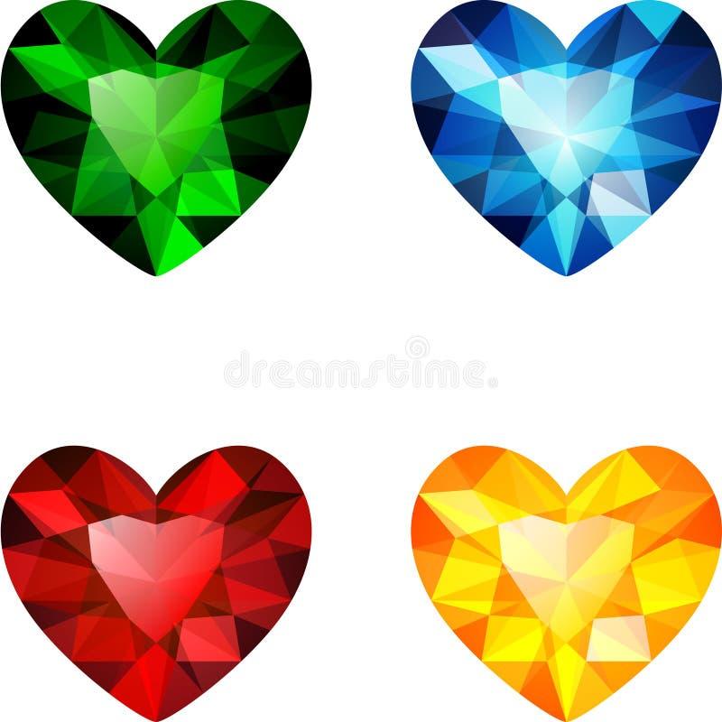 L'insieme di quattro cuori variopinti del diamante illustrazione di stock