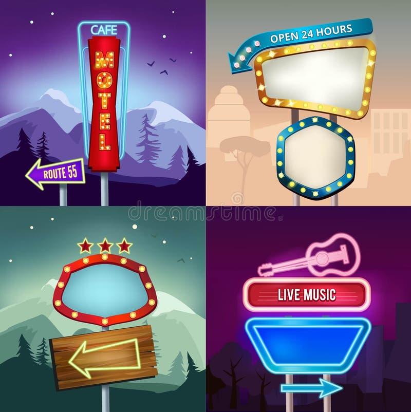 L'insieme di retro illustrazioni di paesaggio con le insegne al neon di illuminazione per annuncia Bordo per il motel ed il negoz illustrazione vettoriale