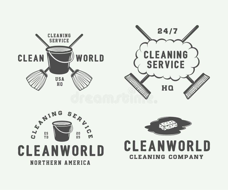 L'insieme di retro logo di pulizia badges, simbolizza ed etichette illustrazione vettoriale