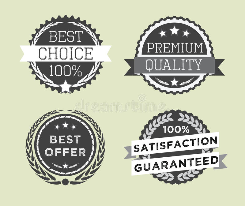 L'insieme di retro qualità premio d'annata badges ed etichette royalty illustrazione gratis