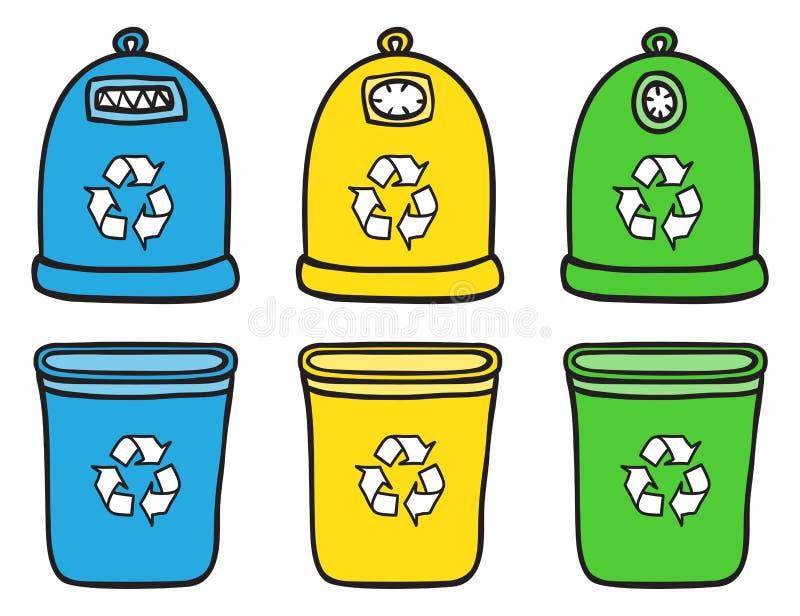 L'insieme di ricicla gli scomparti di rifiuti illustrazione vettoriale