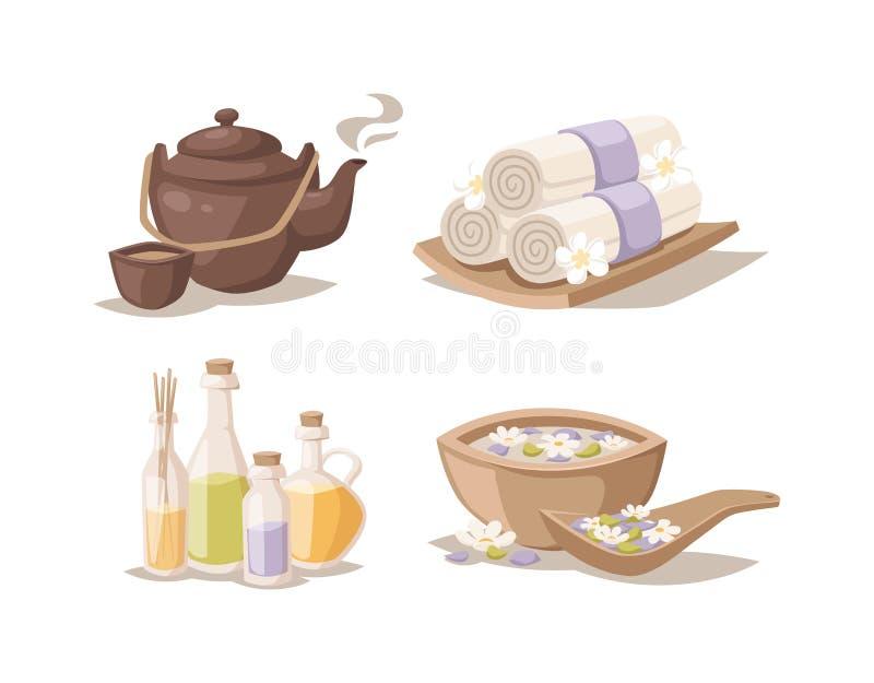 L'insieme di simboli decorativo di schizzo della stazione termale con l'aroma di bambù degli asciugamani esamina in controluce il royalty illustrazione gratis