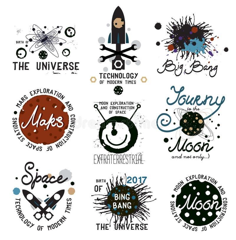 L'insieme di spazio d'annata e studia gli elementi di progettazione dell'universo illustrazione di stock