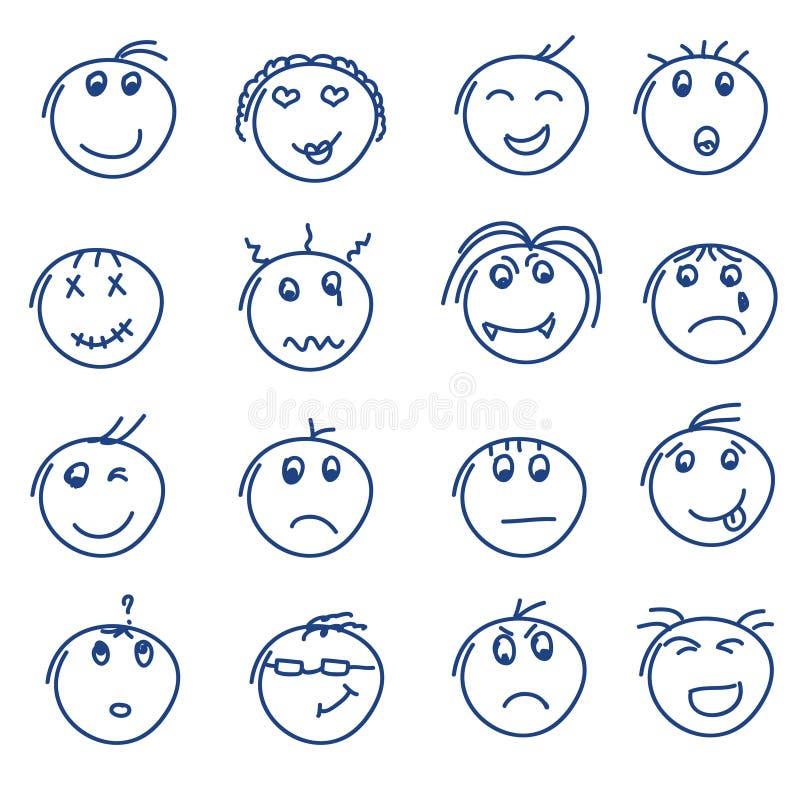 L'insieme di stile disegnato a mano di scarabocchio sorride su bianco royalty illustrazione gratis