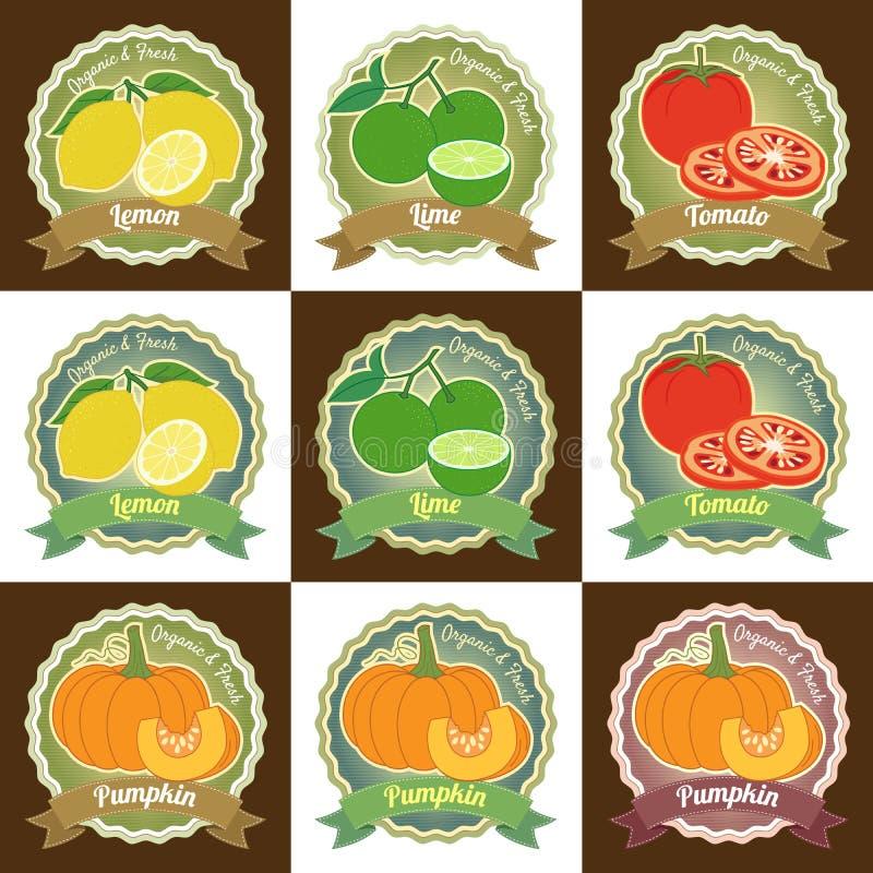 L'insieme di varia etichetta premio dell'etichetta di qualità della verdura e della frutta fresca badge l'autoadesivo e la proget illustrazione vettoriale