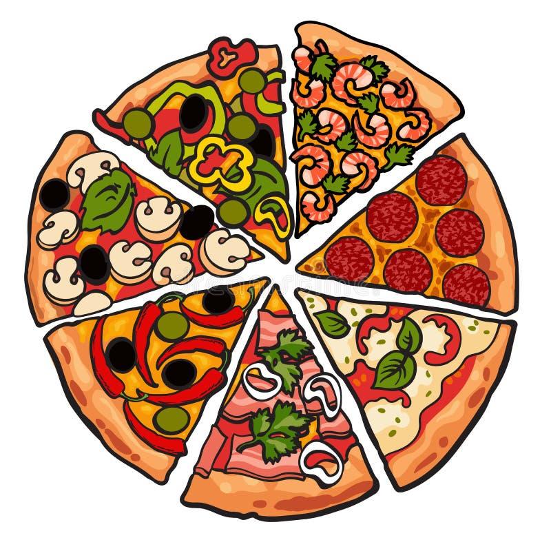 L'insieme di varia pizza collega su fondo bianco illustrazione di stock