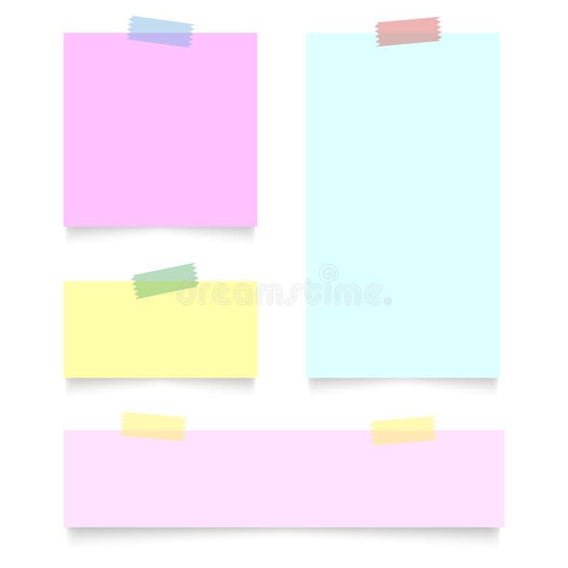 L'insieme di varie carte variopinte su nastro appiccicoso, aspetta per il vostro messaggio Illustrazione di vettore illustrazione vettoriale