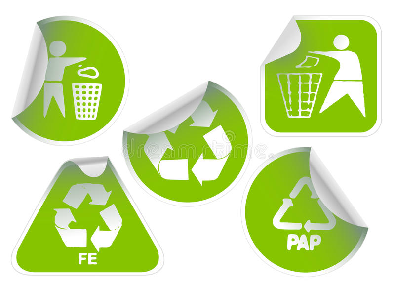L'insieme di verde ricicla i distintivi e gli autoadesivi dei contrassegni illustrazione di stock