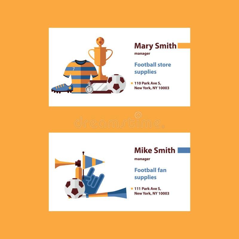 L'insieme di vettore con il modello dei biglietti da visita di calcio desorated con i suplies di calcio come palla, la tazza, sti illustrazione di stock