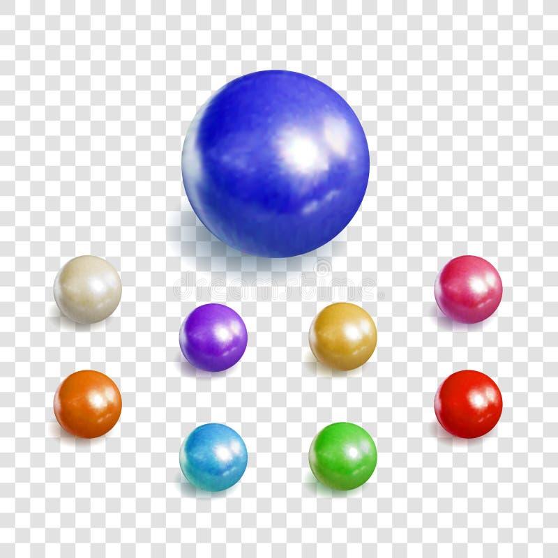 L'insieme di vettore 3D delle sfere realistiche, perle ha isolato, raccolta degli elementi di progettazione royalty illustrazione gratis