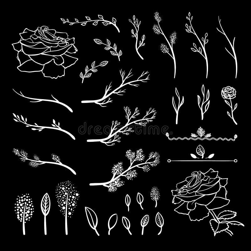 L'insieme di vettore degli elementi tirati del gesso, i ramoscelli della primavera, i germogli, le foglie, fiori, disegni bianchi illustrazione di stock