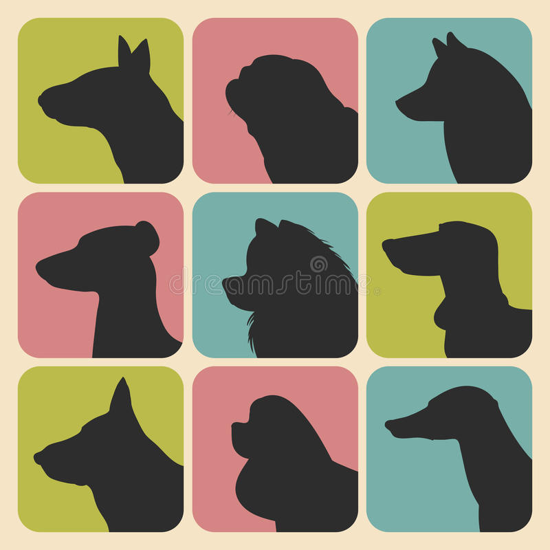 L'insieme di vettore dei cani differenti profila le icone nello stile piano d'avanguardia illustrazione vettoriale