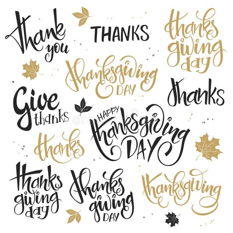 L'insieme di vettore del giorno di ringraziamento dell'iscrizione della mano cita - il ringraziamento, i ringraziamenti di elasti royalty illustrazione gratis