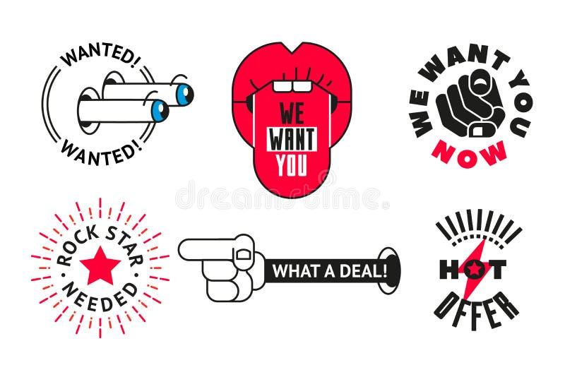 L'insieme di vettore del lavoro fresco piano di offerta di l$voro timbra, etichetta Mandi un sms al ROCK STAR STATO NECESSARIO, C illustrazione vettoriale
