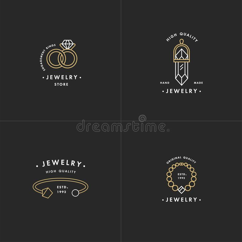 L'insieme di vettore del logos con la collana e gemma, le fedi nuziali ed il braccialetto progettano nello stile lineare d'avangu illustrazione vettoriale
