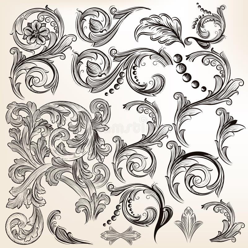 L'insieme di vettore dell'annata calligrafica turbina per progettazione illustrazione vettoriale