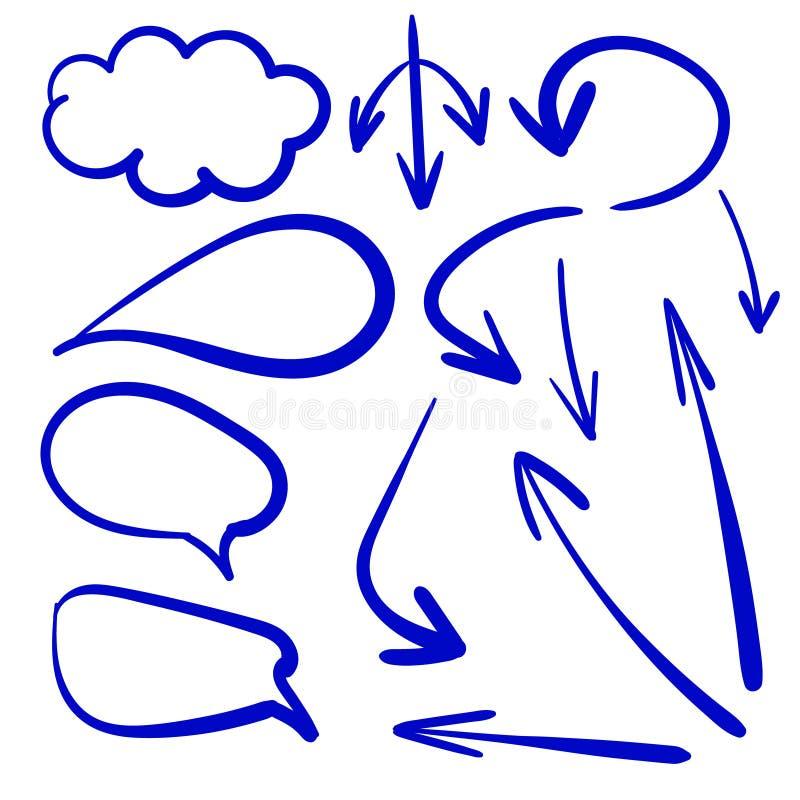 L'insieme di vettore delle frecce e della conversazione bolle, disegni royalty illustrazione gratis