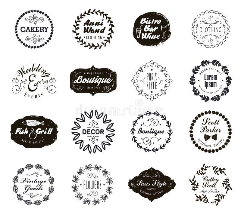 L'insieme di vettore di varia piccola impresa badges con gli allori floreali Icone d'annata, logos per il negozio, prodotto, salo royalty illustrazione gratis