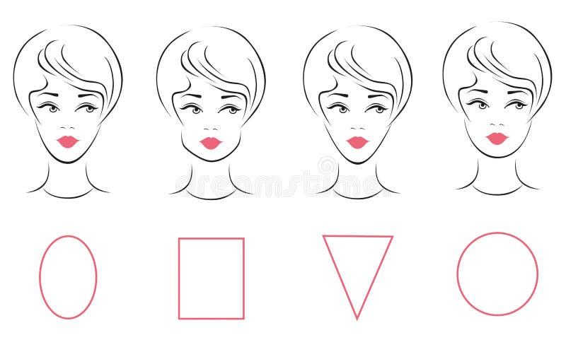 L'insieme di vettore di forma femminile differente del fronte scrive illustrazione vettoriale