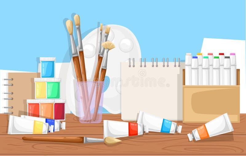 L'insieme di vettore per lo sketchbook di Table dell'artista dipinge la spazzola degli indicatori del tubo illustrazione di stock