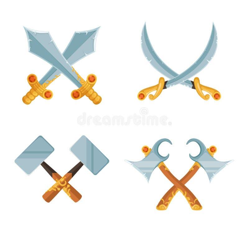L'insieme di vettore di progettazione del gioco del fumetto ha attraversato le armi dell'ascia e della spada isolate su fondo bia illustrazione di stock