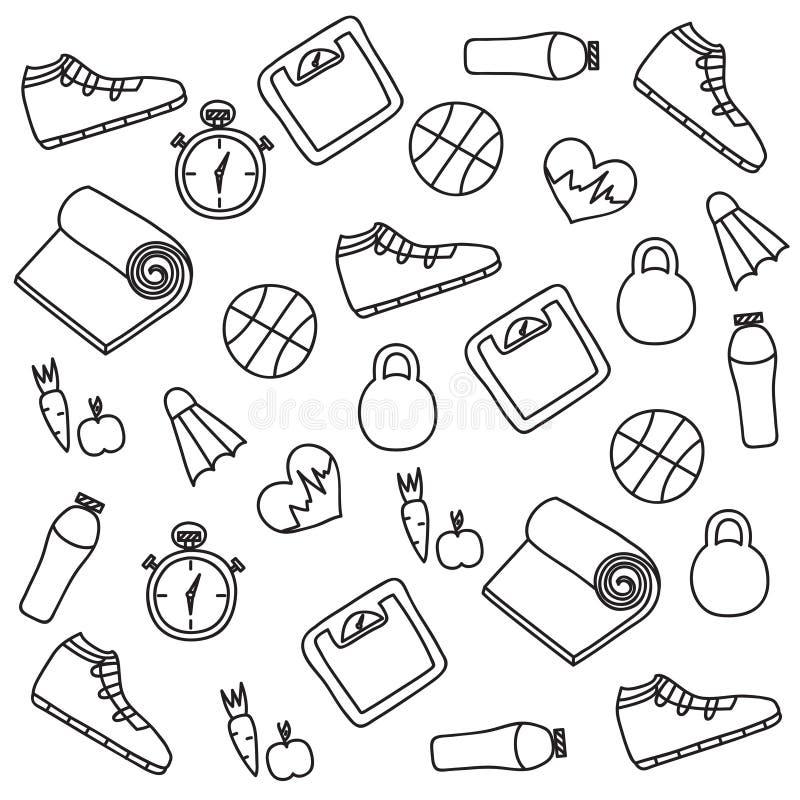 L'insieme disegnato a mano dell'illustrazione di forma fisica e dello sport scarabocchia il segno royalty illustrazione gratis