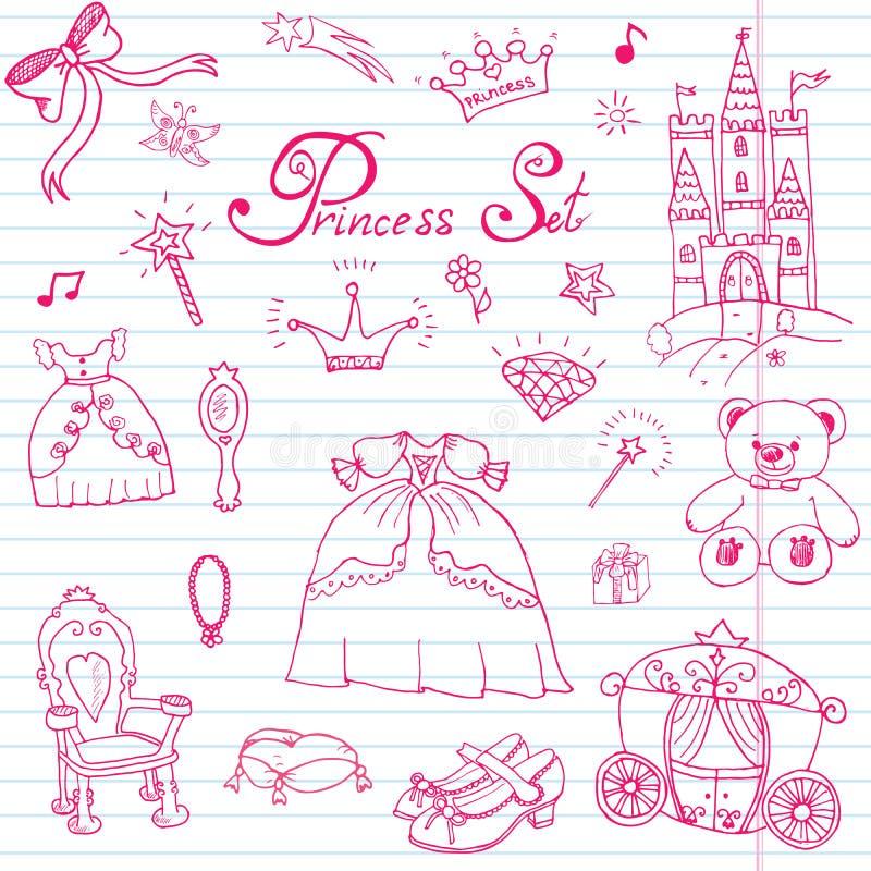 L'insieme disegnato a mano dell'illustrazione di vettore del segno di principessa, di Castel, del trono e del trasporto, la bacch royalty illustrazione gratis