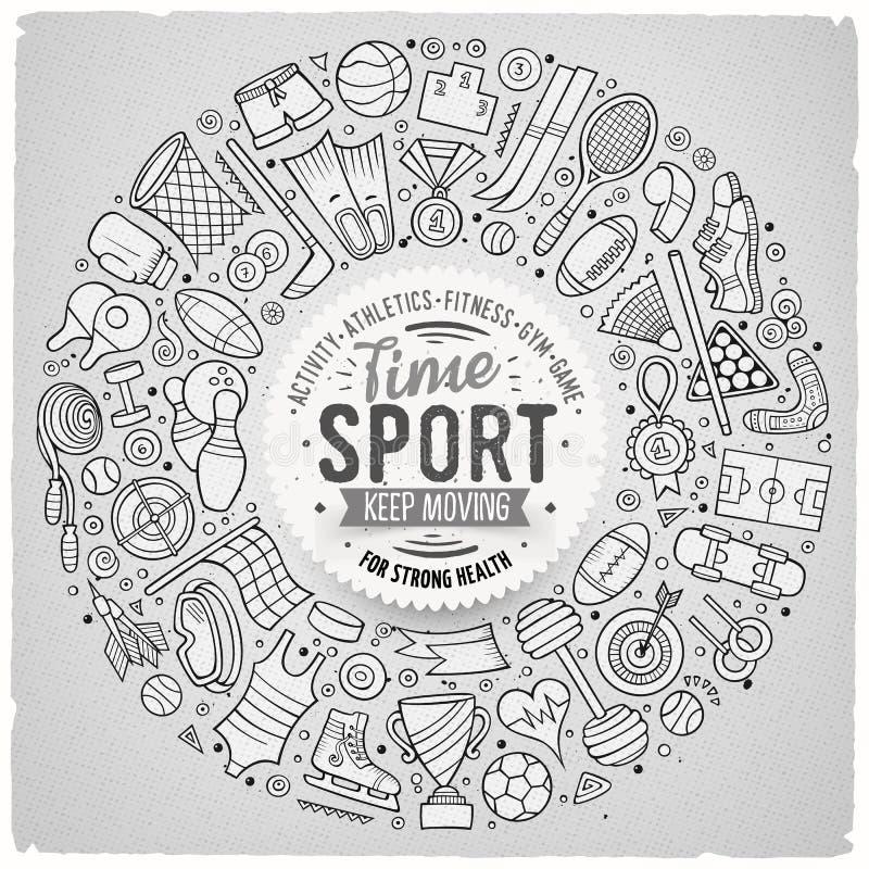 L'insieme disegnato a mano di vettore dello scarabocchio del fumetto di sport obietta illustrazione vettoriale