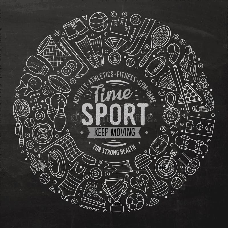 L'insieme disegnato a mano di vettore dello scarabocchio del fumetto di sport obietta royalty illustrazione gratis