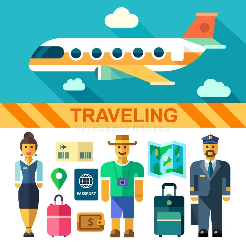L'insieme e le illustrazioni piani dell'icona di vettore di colore viaggiano in aereo illustrazione di stock