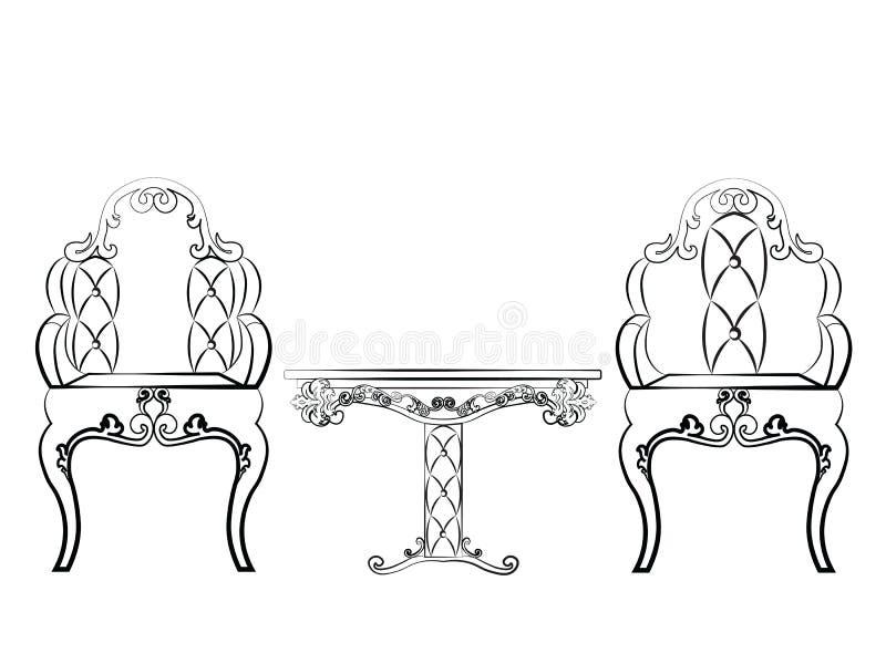 L'insieme elegante della mobilia delle sedie e della Tabella ha imbottito con cuoio royalty illustrazione gratis