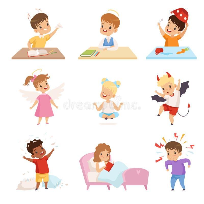 L'insieme impertinente e obbediente dei bambini, piccolo pozzo sveglio è cresciuto illustrazione di vettore dei teppisti e dei ba royalty illustrazione gratis