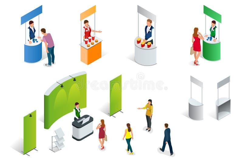 L'insieme isometrico della promozione sta su un fondo bianco Cabina di mostra o della fiera commerciale di vettore illustrazione vettoriale