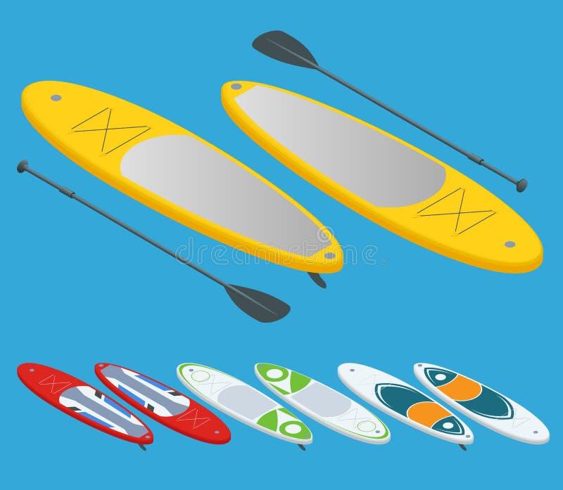 L'insieme isometrico di sta sulla pagaia che pratica il surfing e sta sull'imbarco della pagaia isolato sul concetto bianco dello illustrazione vettoriale