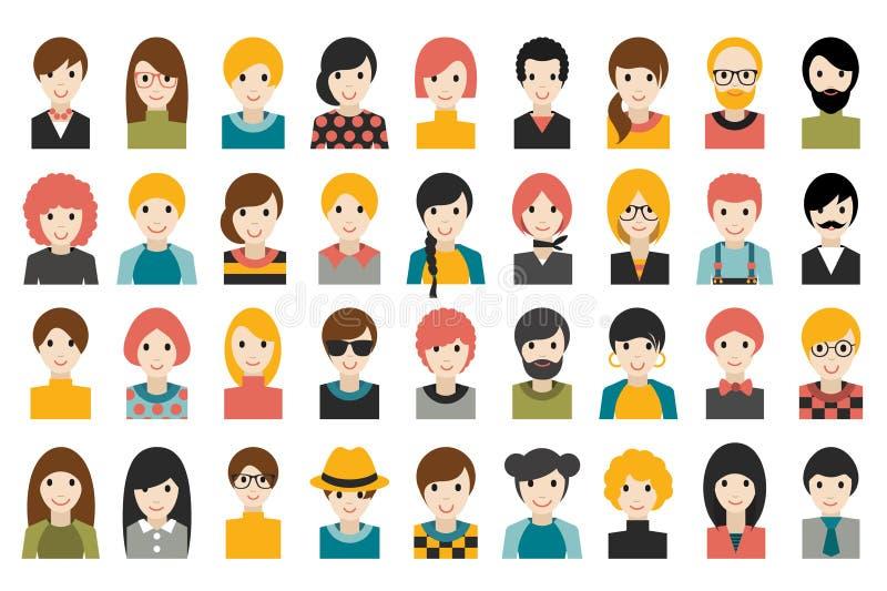 L'insieme mega di diversa gente si dirige, avatar isolati su fondo bianco Vestiti differenti, stili di capelli illustrazione di stock