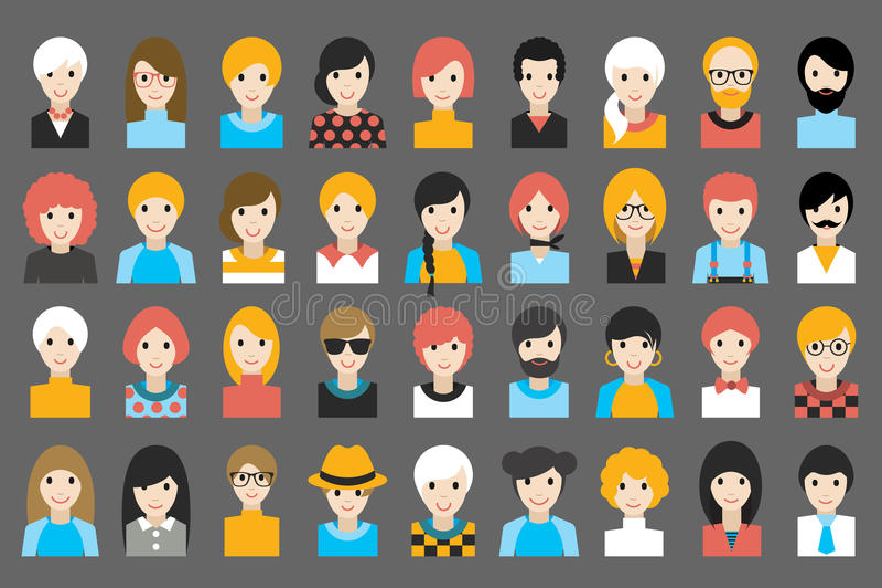 L'insieme mega di diversa gente si dirige, avatar Vestiti differenti, stili di capelli illustrazione di stock