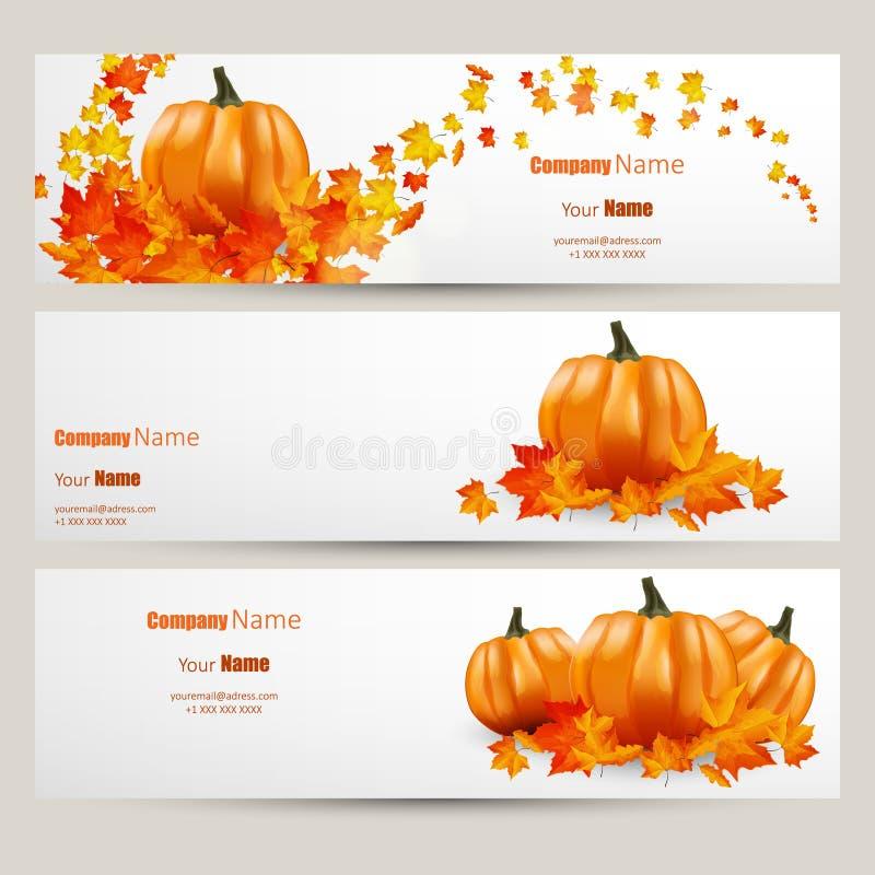 L'insieme moderno di vettore del sito Web variopinto di stile del bannFlat delle foglie e delle zucche di autunno progetta con l' illustrazione vettoriale