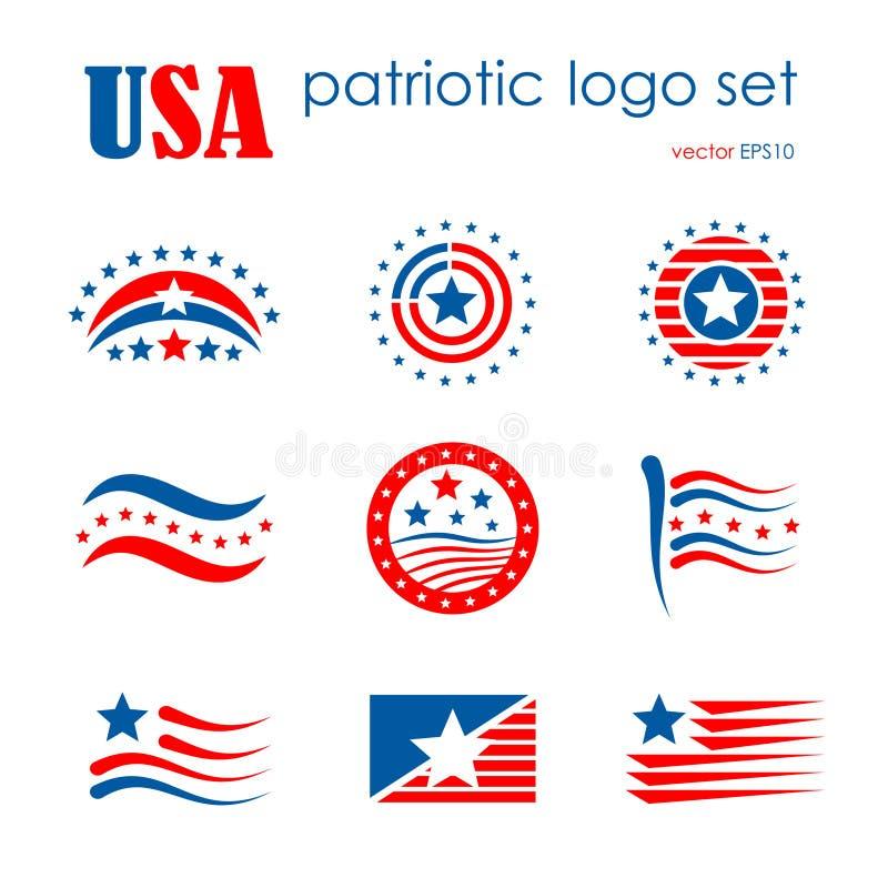 L'insieme patriottico dell'icona di logo dell'emblema di U.S.A., bandiera firma illustrazione di stock
