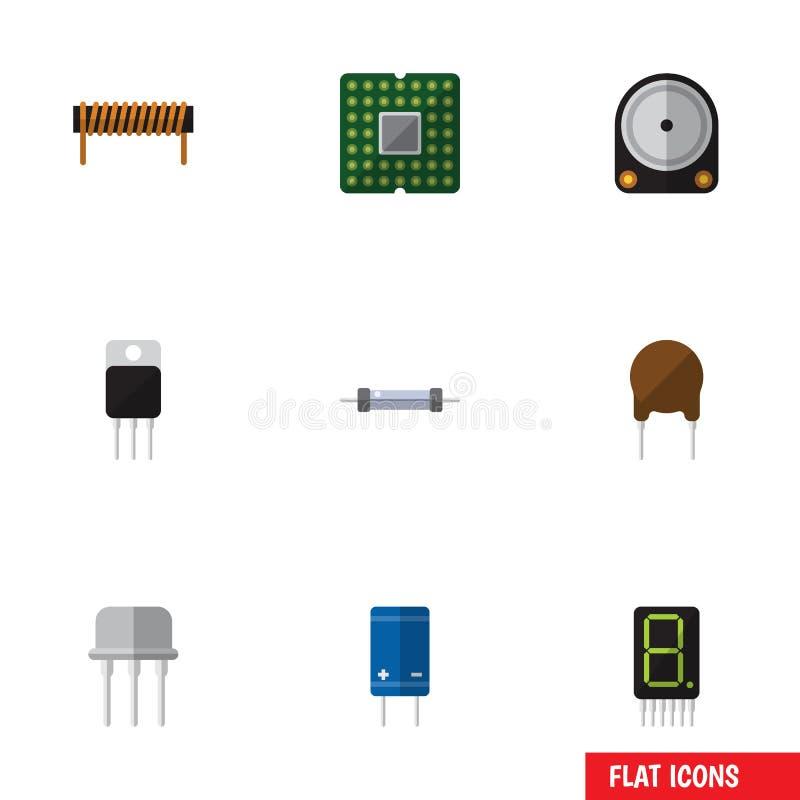L'insieme piano del dispositivo dell'icona di Hdd, resiste a, unità ed altri oggetti di vettore Inoltre include duro, Hdd, elemen illustrazione di stock