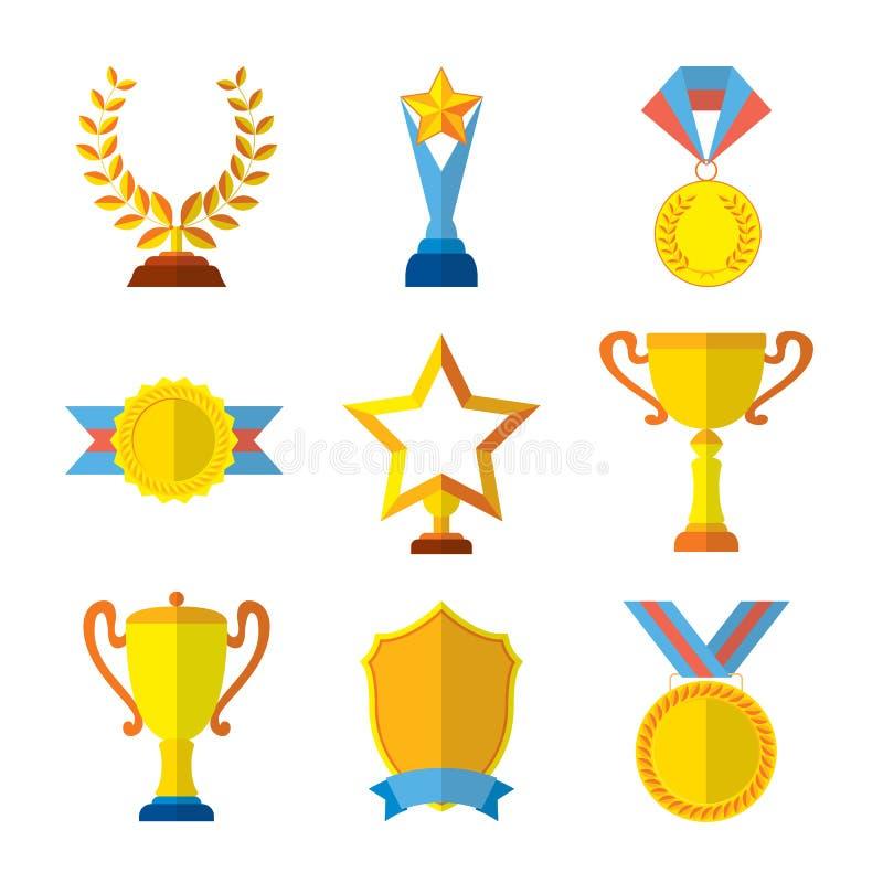 L'insieme piano delle icone del trofeo della medaglia del vincitore del premio di successo del medaglione ha isolato l'illustrazi royalty illustrazione gratis
