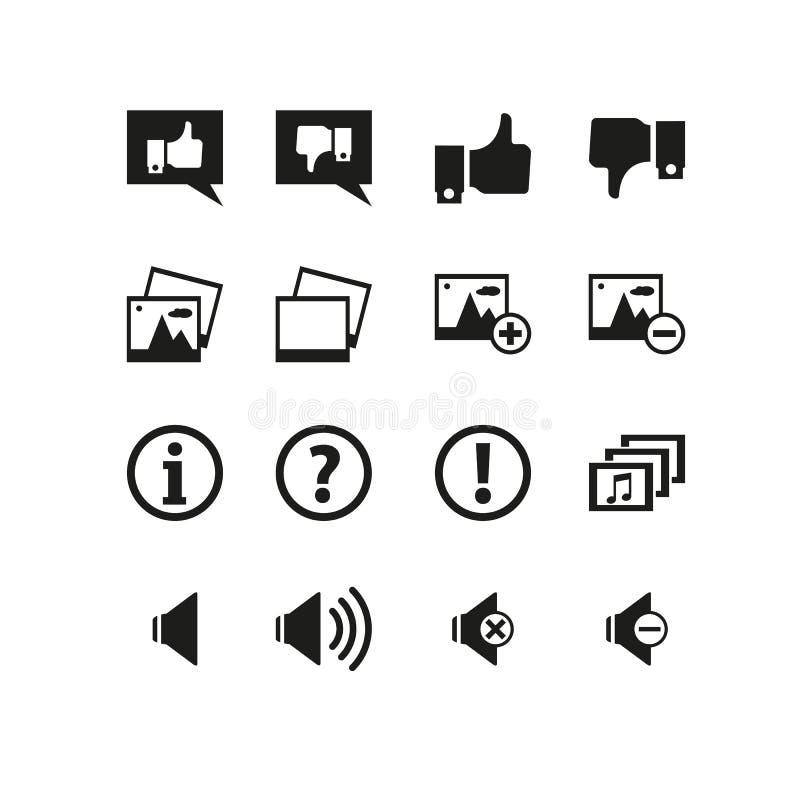 L'insieme semplice di approva la linea relativa icone di vettore Contiene tali icone come il suono, come, la galleria, la foto e  illustrazione di stock