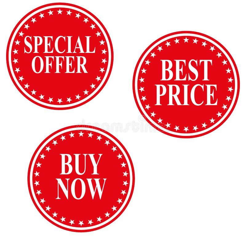L'insigne d'offre spéciale, la meilleure étiquette, achètent maintenant le vecteur eps10 d'ensemble d'étiquette illustration stock