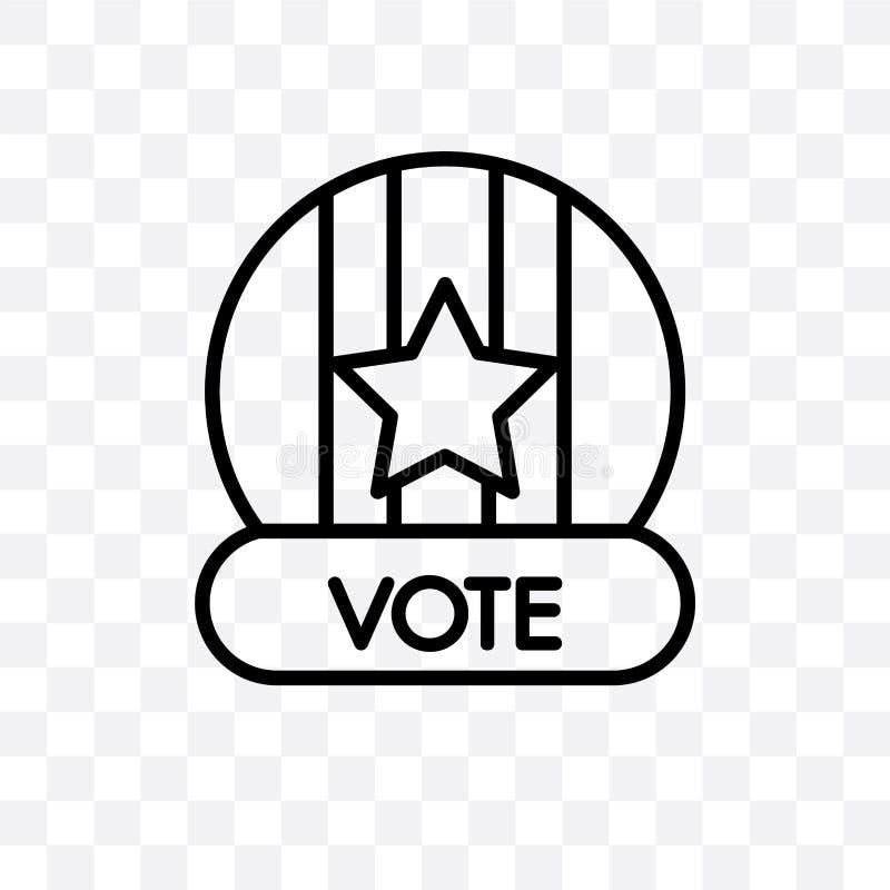 L'insigne de vote pour des élections politiques dirigent l'icône linéaire d'isolement sur le fond transparent, insigne de vote po illustration libre de droits