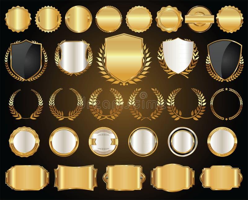 L'insigne et le label d'or de cadre de vente dirigent la collection illustration libre de droits