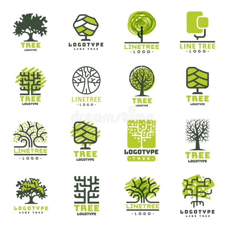 L'insigne naturel conifére de voyage d'arbre de vert de silhouette d'insigne extérieur de forêt complète la ligne vecteur impecca illustration de vecteur