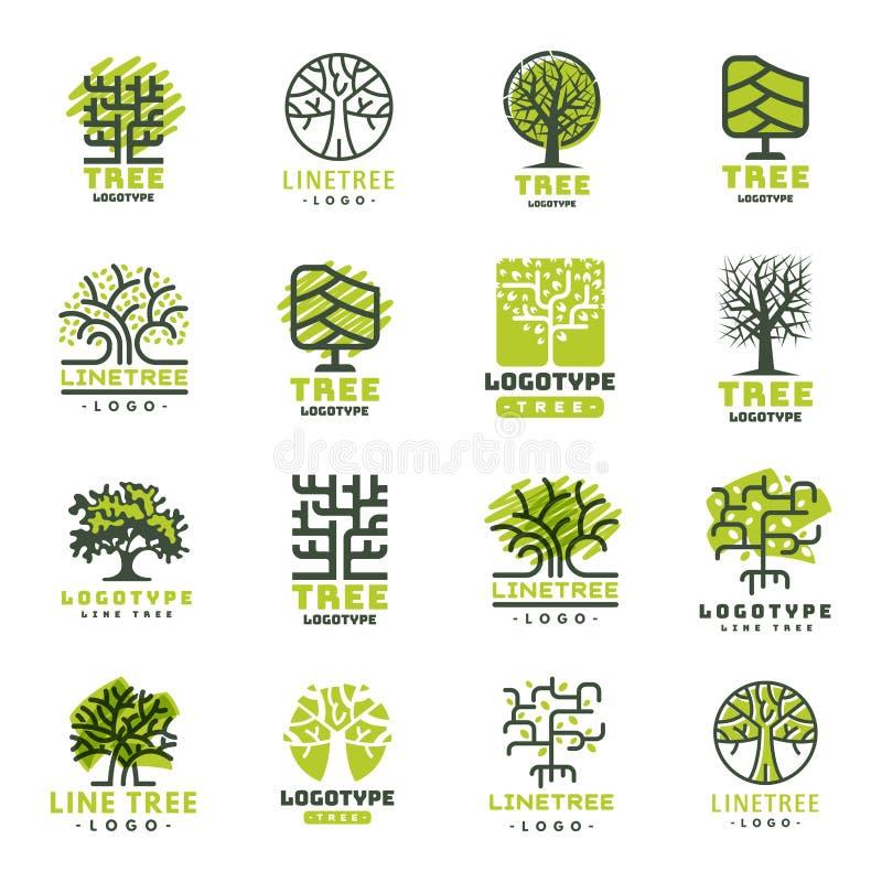 L'insigne naturel conifére de voyage d'arbre de vert de silhouette d'insigne extérieur de forêt complète la ligne vecteur impecca illustration libre de droits
