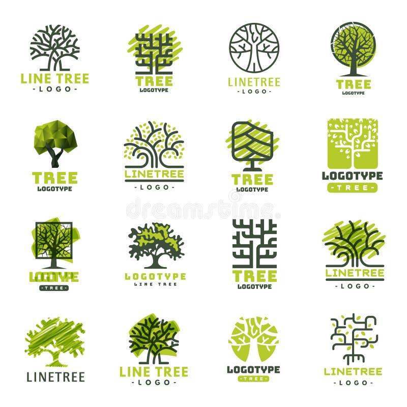 L'insigne naturel conifére de voyage d'arbre de vert de silhouette d'insigne extérieur de forêt complète la ligne vecteur impecca illustration stock