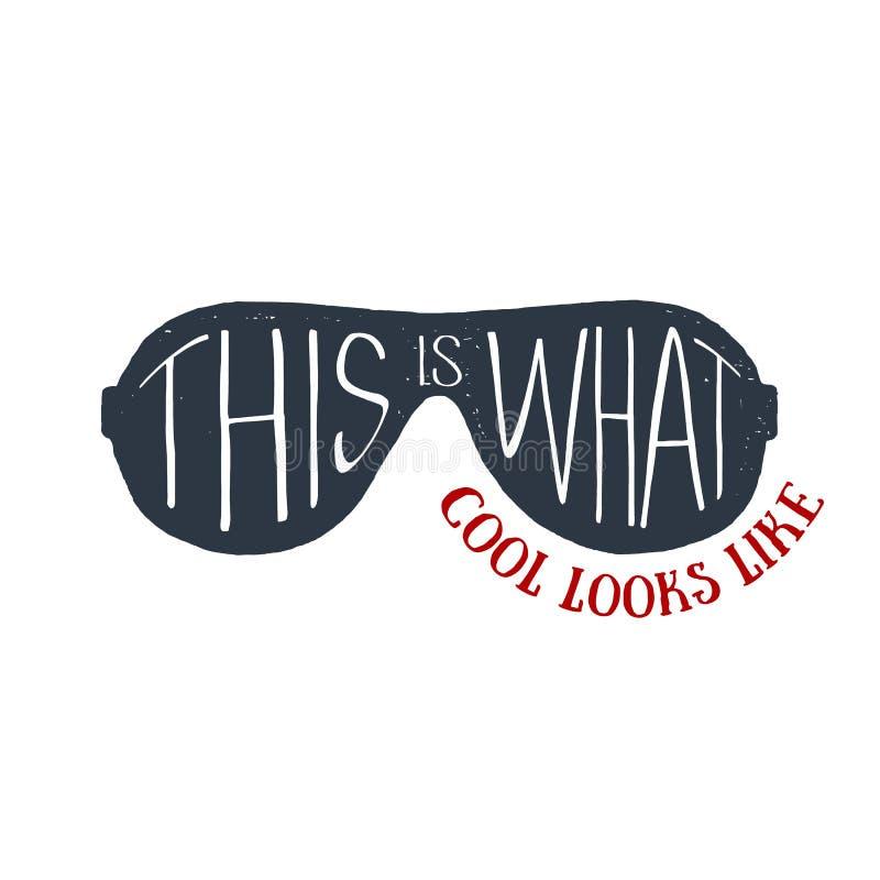 L'insigne 90s orienté tiré par la main avec les lunettes de soleil rayées dirigent l'illus illustration stock
